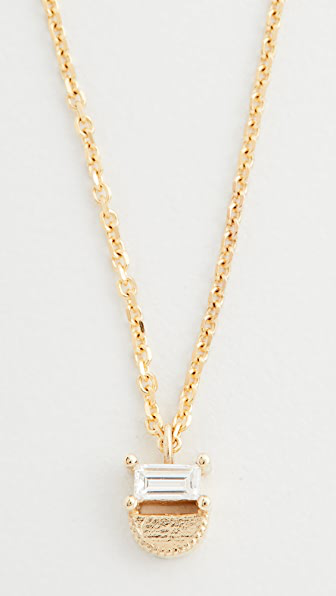 Jennie Kwon Designs 14k Baguette Half Moon Necklace In Yellow Gold