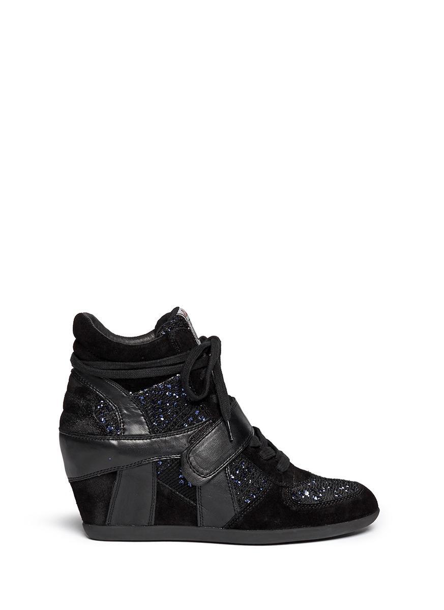 f7fbaa80d685 Ash  Bowie  Sequin Crochet High Top Wedge Sneaker In Black Midnight ...