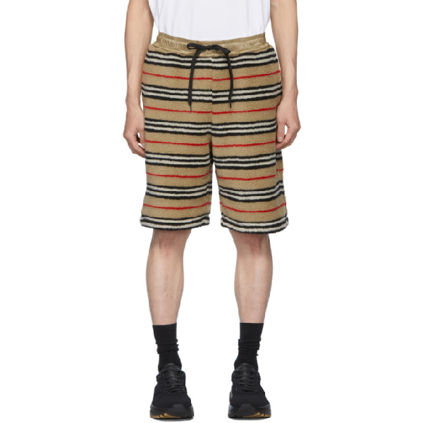Burberry Shell-trimmed Striped Fleece Drawstring Shorts In Archive Bei