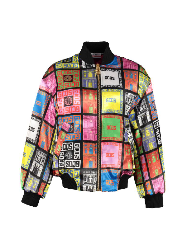 Gcds Palazzo Retro Printed Bomber Jacket In Black