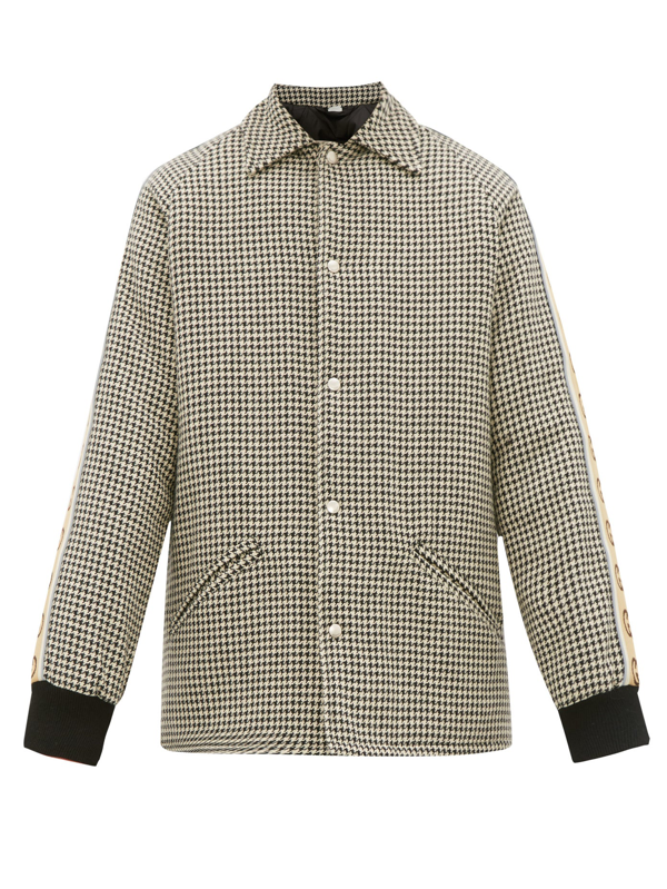 Gucci Vintage Cotton Blend Houndstooth Coat In Multicoloured