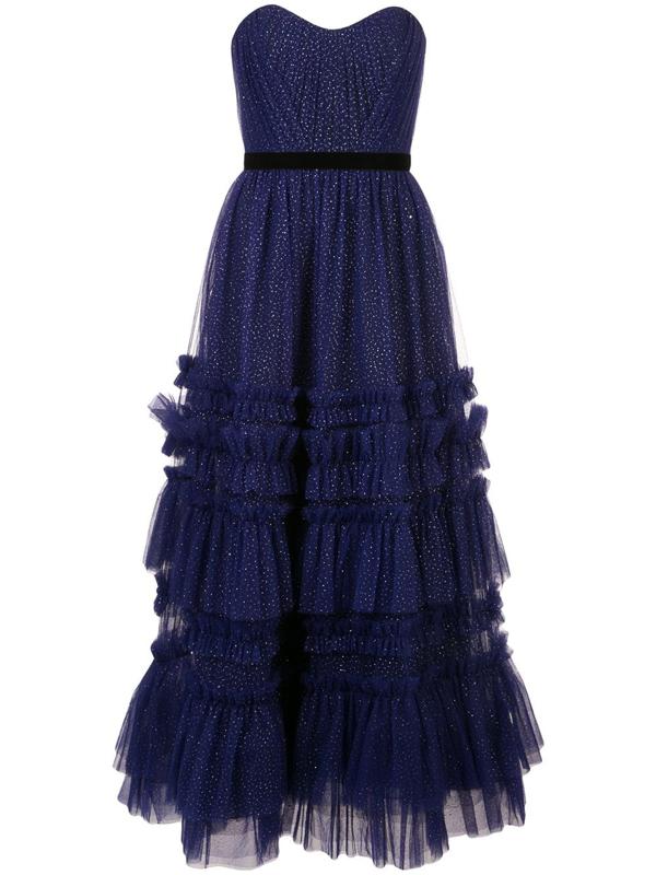 Marchesa Notte Women's Glitter Tulle Strapless Tea-length Gown In Blue