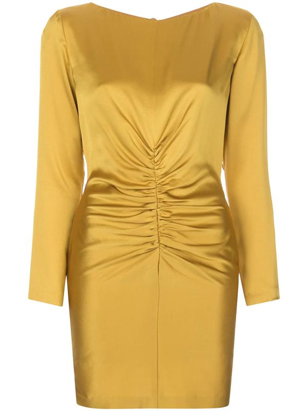 Michelle Mason Rushed Silk Mini Dress In Yellow
