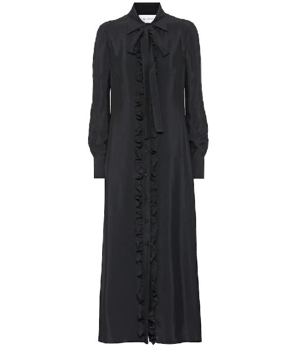 Valentino Ruffle Tie Neck Long Sleeve Shirtdress In Black