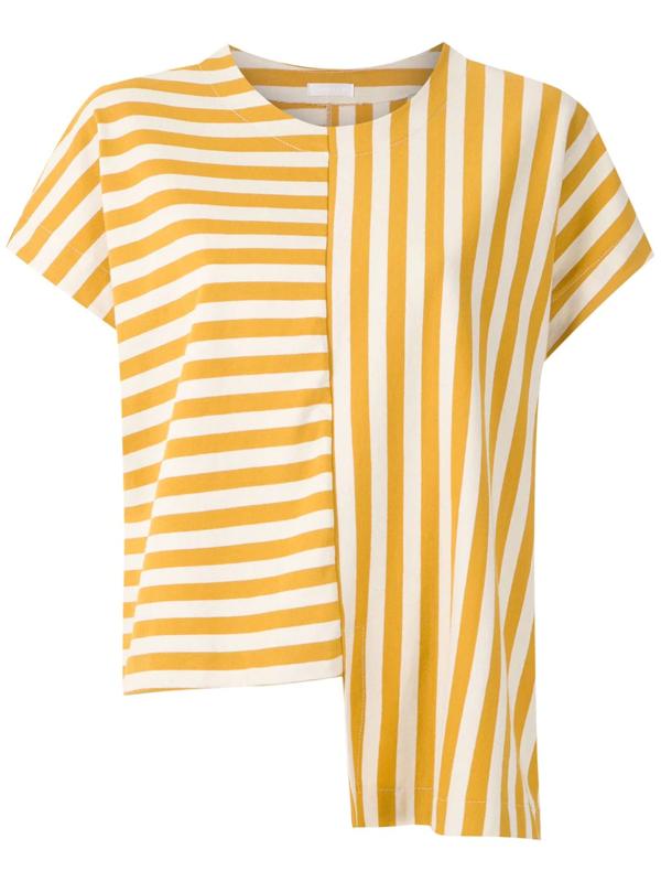 Osklen Summer Stripe Asymmetric Blouse In Multicolour