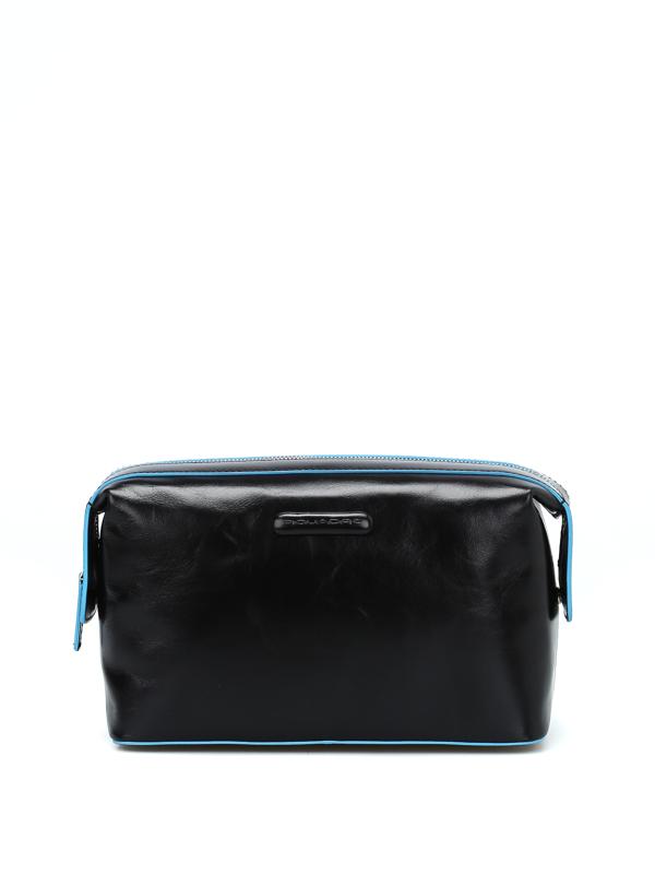 Piquadro Brushed Leather Black Beauty Case