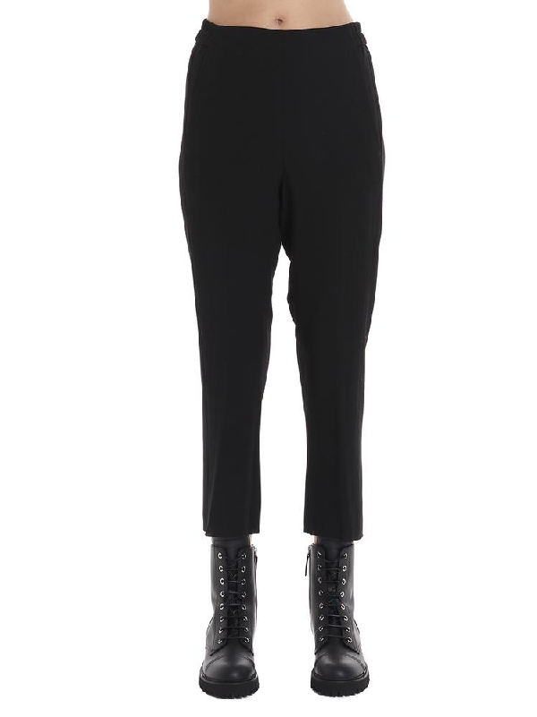 Ann Demeulemeester Cropped Elastic High Waisted Pants In Black