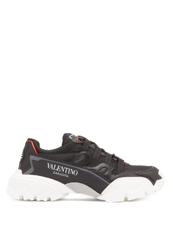 Valentino Climber Leather And Mesh Trainers In Black