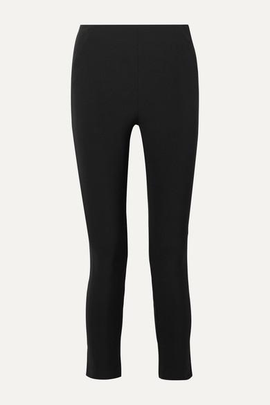 Veronica Beard Cropped Stretch-crepe Skinny Pants In Black