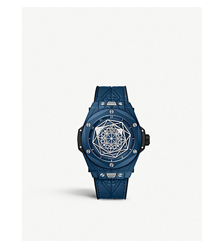 Hublot 415.ex.7179.vr. Mxm19 Big Bang Sang Bleu Ceramic Watch In Blue
