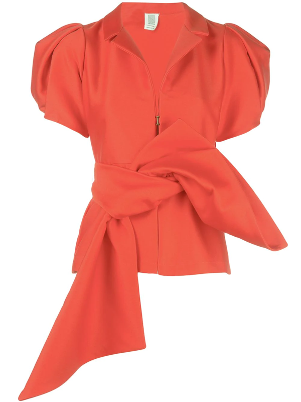 Rosie Assoulin Puff Sleeve Top In Red