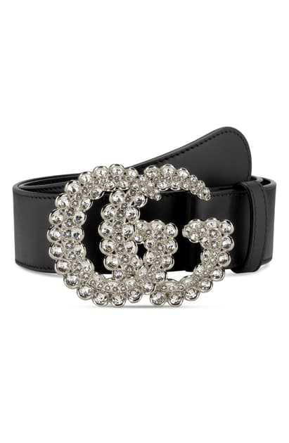Gucci Leather Belt W/ Double G Crystal Buckle In Nero/ Crystal
