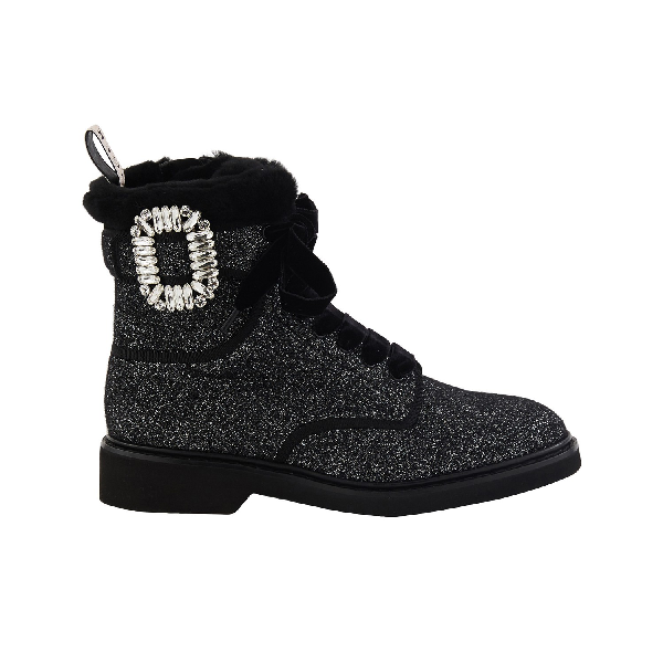 Viv' Rangers Strass Buckle Boots In Nero by Roger Vivier