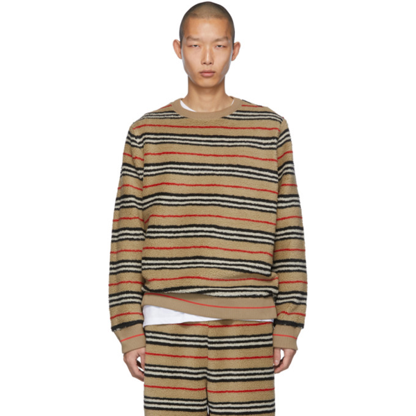 Burberry Edson Icon-striped Fleece Sweater In Archbeige