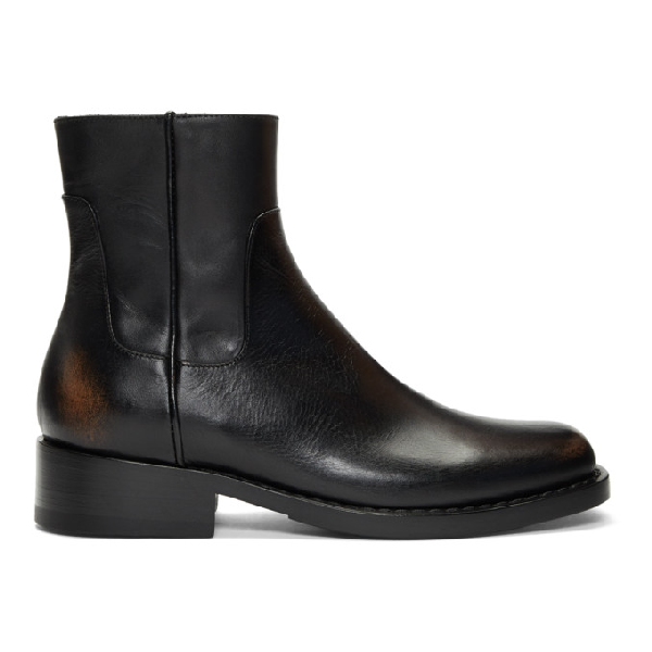 Raf Simons Black Men's Leather Squared Ankle Boots In 00099 Black
