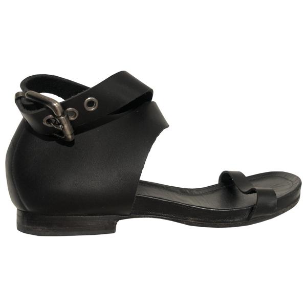 Hope Black Leather Sandals