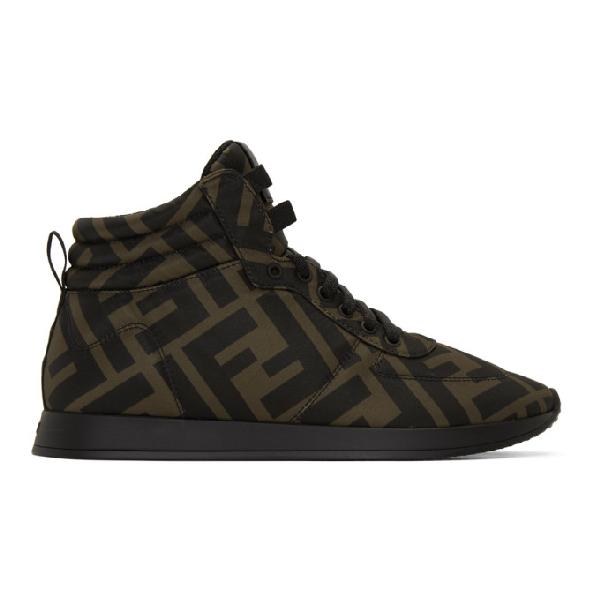 Fendi Leather-trimmed Logo-print Neoprene High-top Sneakers In F0r7v Brown
