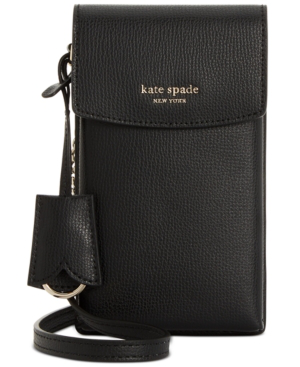 Kate Spade Sylvia North South Flap Leather Crossbody In Black/Gold