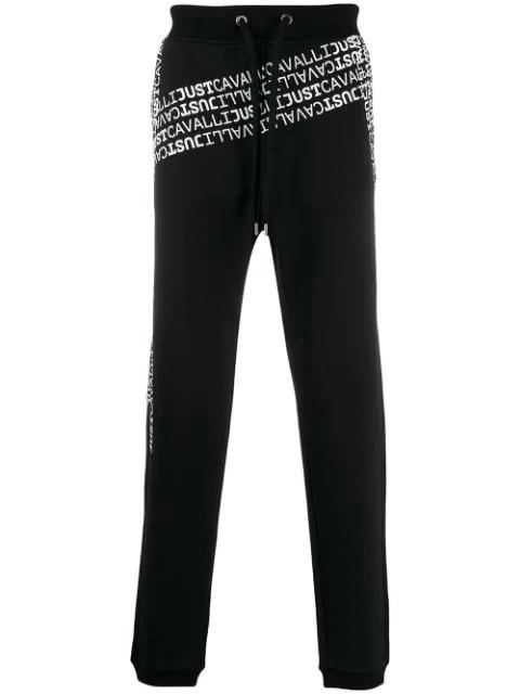 Just Cavalli Men's Logo Mania Sweatpants In 900 Black