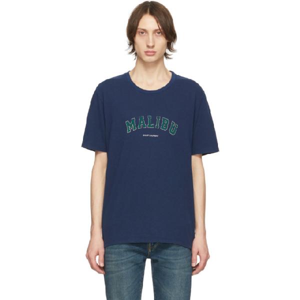 Saint Laurent Logo Malibu Print Cotton Jersey T-shirt In 4282 Marine
