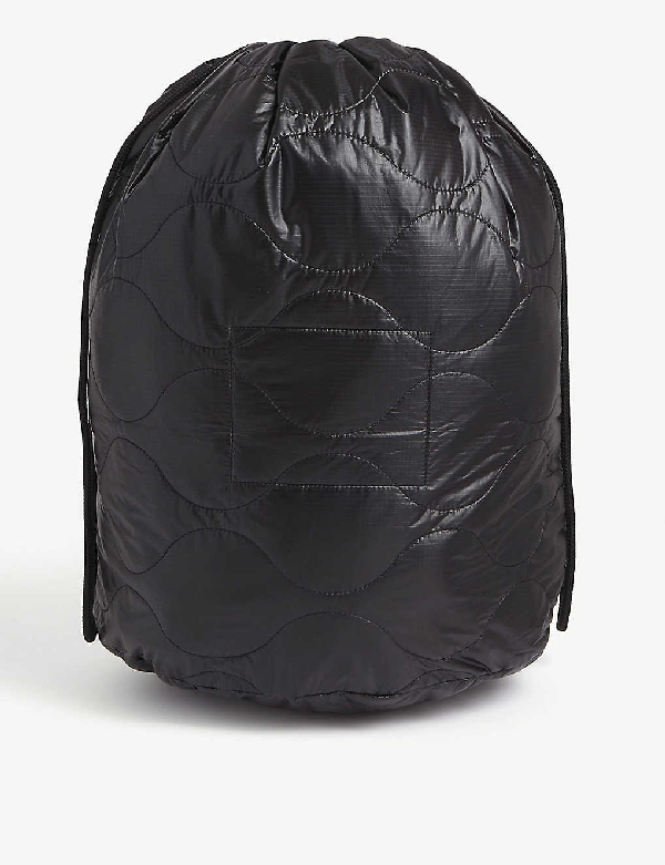 The Soloist Poem Quilted Nylon Shell Drawstring Bag In Black