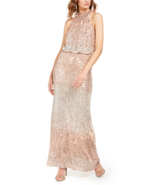 Eliza J Sequin Halter Neck Blouson Evening Gown In Gold