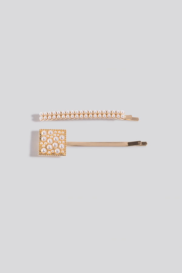 Na-kd 2-pack Square Pearl Hairclips White In Gold