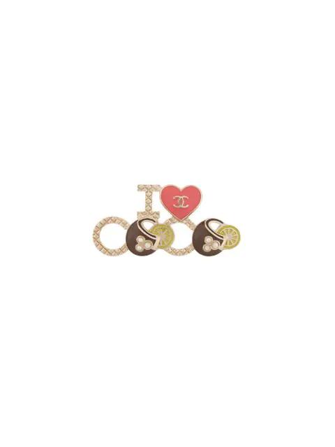 Chanel I Love Coco Brooch In Metallic