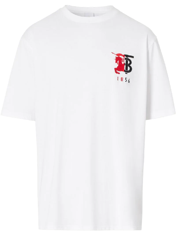 Burberry Contrast Logo Graphic Cotton T-shirt In White