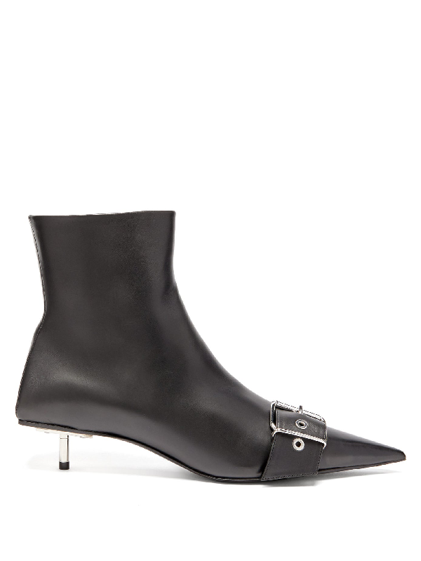 Balenciaga Square Knife Buckled Leather Ankle Boots In Black