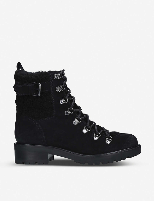 Sam Edelman Women's Tenlee Faux Fur-trimmed Suede Hiking Boots In Black
