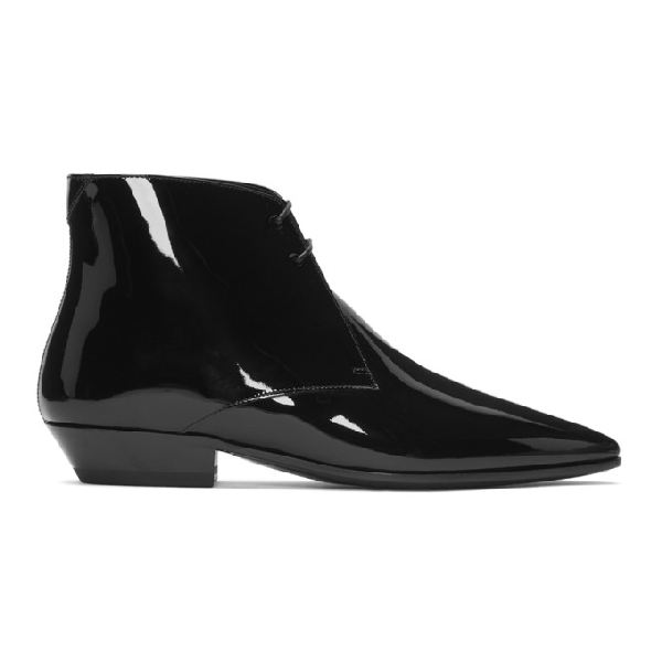 Saint Laurent Lace Up Ankle Boots Jonas 25 Patent Leather Black In 1000 Black