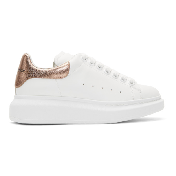 Alexander Mcqueen Metallic-trimmed Leather Exaggerated-sole Sneakers In 9053 Rosego