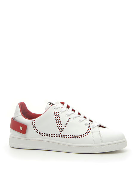 Valentino Men's Net Low-Top Leather Logo Sneakers In White/Red