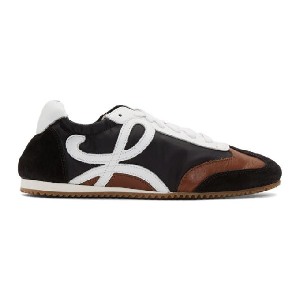 Loewe Ballet Runner Nylon And Leather Sneakers In Black