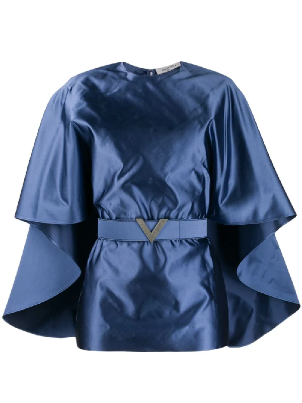 Valentino Belted Cape-sleeve Silk-satin Top In Blue
