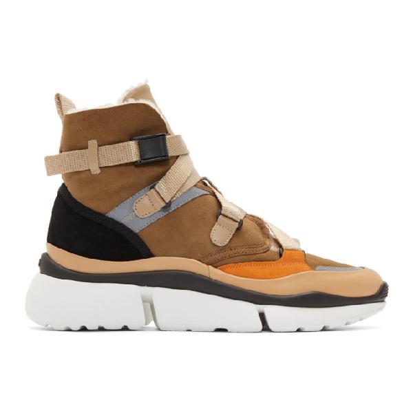 ChloÉ Chloe Brown Sonnie High-Top Sneakers In 219 Quiet B