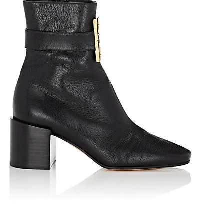 Givenchy Logo-Embellished Leather Ankle Boots In Black