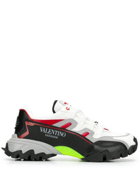 Valentino Garavani Low-top Sneakers Bounce Calfskin Mesh Logo Black Grey White Yellow