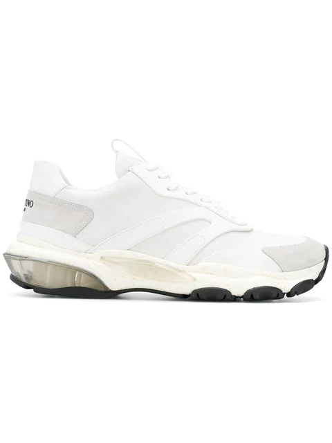 Valentino Bounce Rockstud Raised-sole Leather Trainers In White