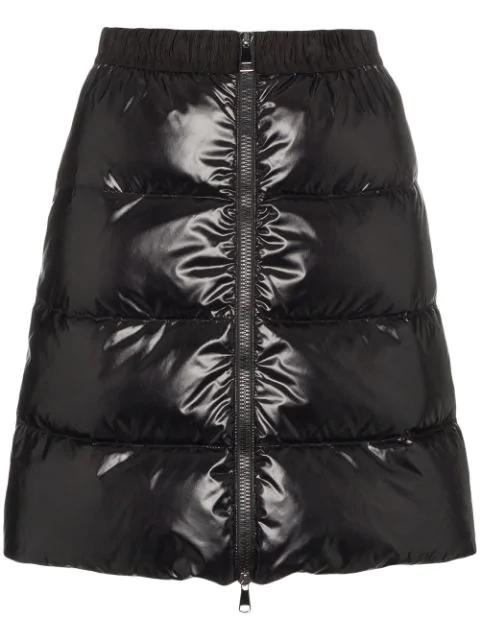 Moncler Padded Flared Mini Skirt In 999 Black