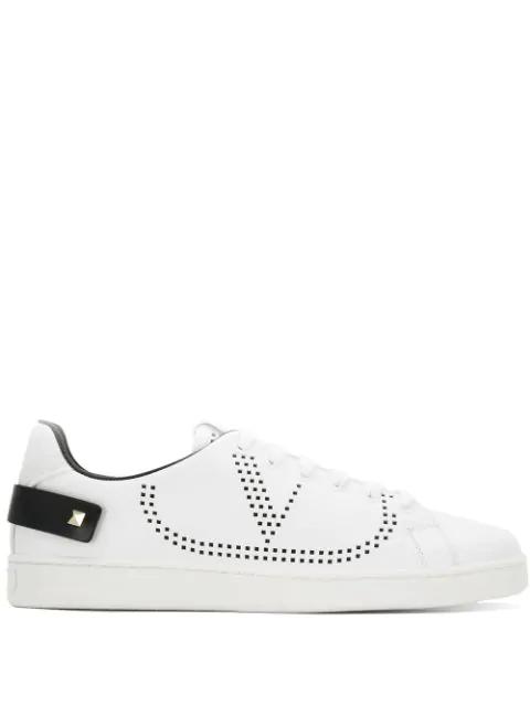 Valentino Garavani Garavani Backnet White Perforated Leather Sneakers