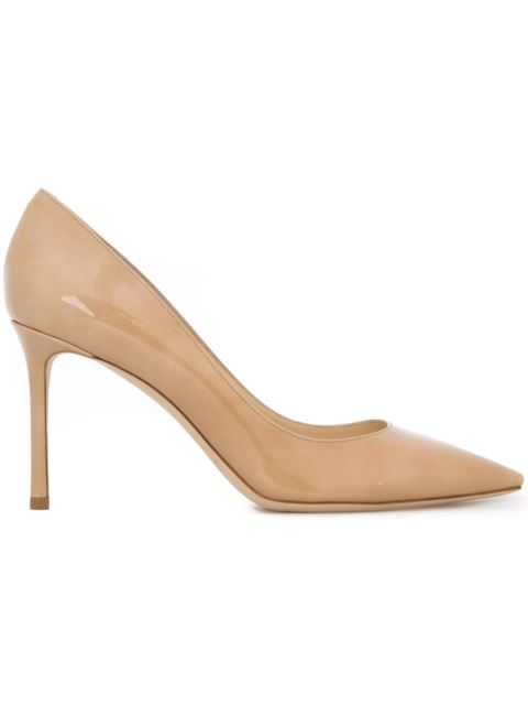 Jimmy Choo Romy 85 Nude Patent Leather Pointy Toe Pumps