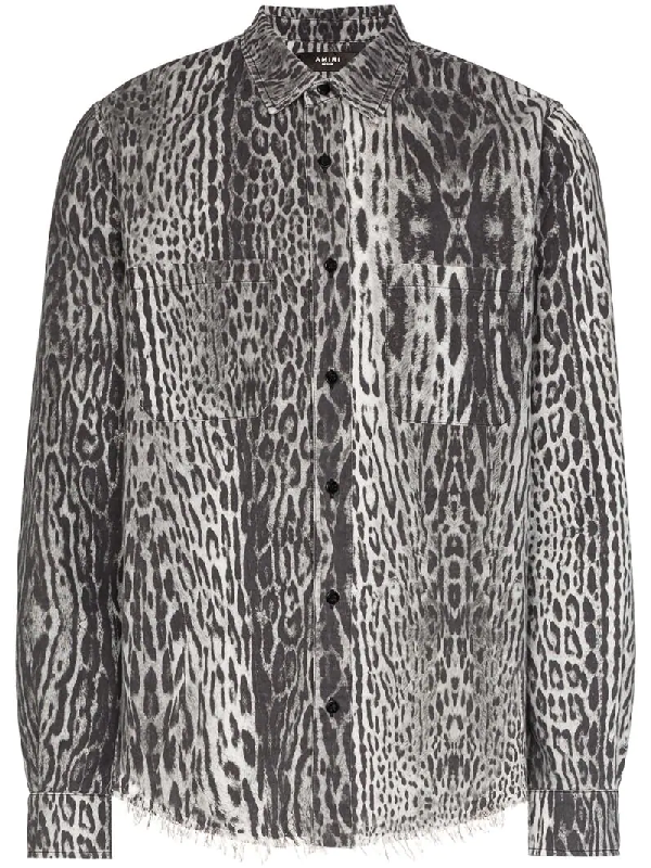 Amiri Leopard Print Distressed Flannel Shirt In White