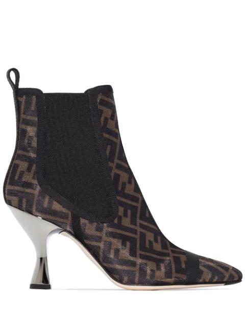 Fendi Leather-trimmed Logo-print Mesh Sock Boots In F0vav-dark Brown Tobacco+b