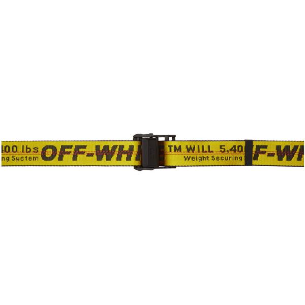 Off-white 3.5cm Yellow Industrial Logo-jacquard Webbing Belt In 6000 Yellow