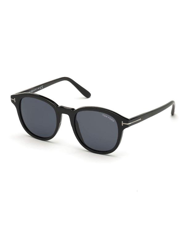 Tom Ford Jameson Round Acetate Sunglasses In Black/Smoke