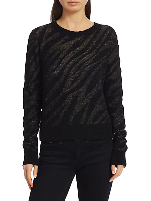 Rag & Bone Women's Germain Zebra Crewneck Sweater In Black