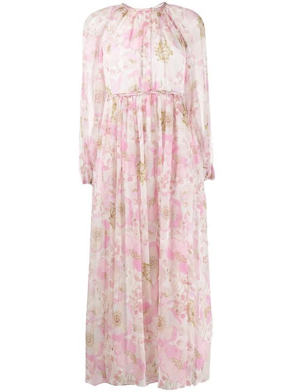 Zimmermann Super Eight Braid Floral-print Silk-georgette Midi Dress In Pink