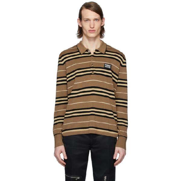 Burberry 棕色 Icon Stripe 长袖 Polo 衫 In Warm Walnut